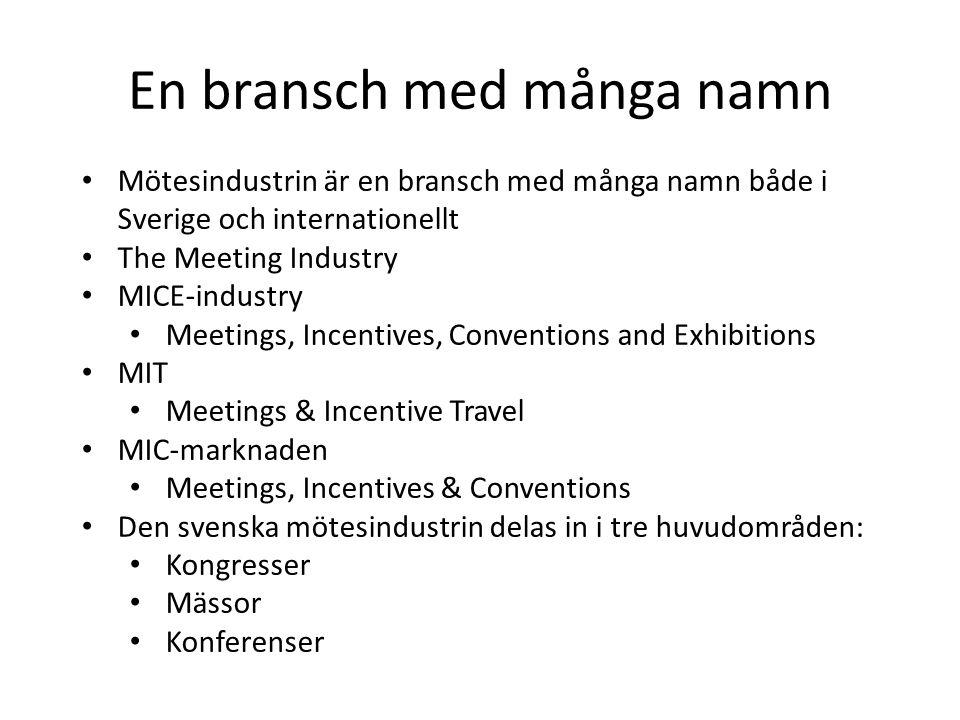 En bransch med många namn • Mötesindustrin är en bransch med många namn både i Sverige och internationellt • The Meeting Industry • MICE-industry • Meetings, Incentives, Conventions and Exhibitions • MIT • Meetings & Incentive Travel • MIC-marknaden • Meetings, Incentives & Conventions • Den svenska mötesindustrin delas in i tre huvudområden: • Kongresser • Mässor • Konferenser