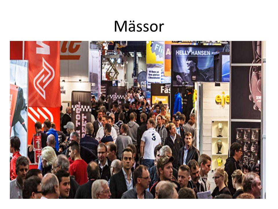 • På en mässa visar man upp sina produkter eller tjänster och skapar kontakter för senare affärsbeslut • Det handlar om en tredimensionell marknadsföring • Produkten kan ses, tas på och demonstreras • En mässa kan vara öppen för enbart fackfolk eller för allmänheten • Ofta handlar det om att locka så stor publik som möjligt • Men det viktigaste är att locka rätt publik oavsett storleken på mässan • Exempel på stora mässor: • TUR-mässan i Göteborg • GastroNord i Stockholm