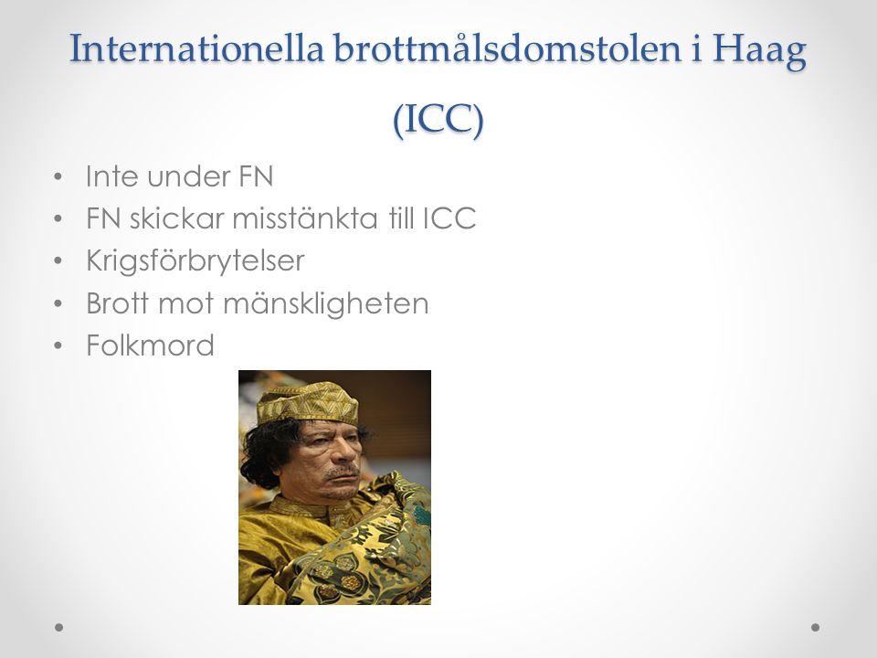 Internationella brottmålsdomstolen i Haag (ICC) • Inte under FN • FN skickar misstänkta till ICC • Krigsförbrytelser • Brott mot mänskligheten • Folkm