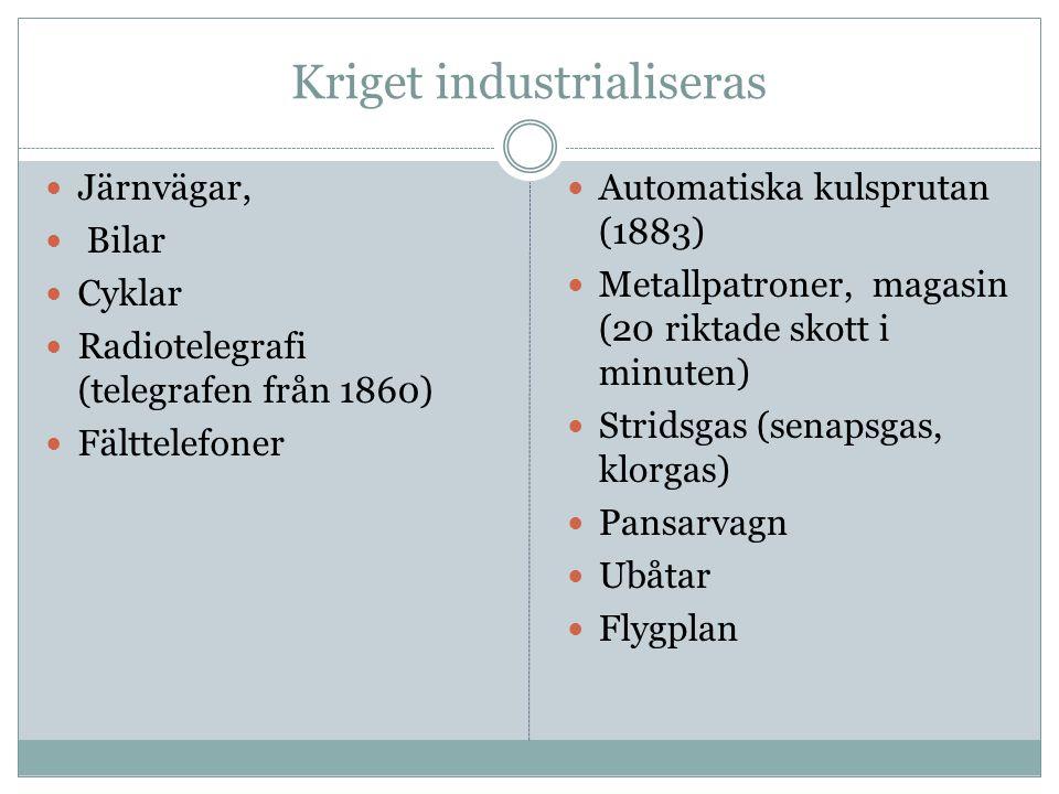 Kriget industrialiseras  Järnvägar,  Bilar  Cyklar  Radiotelegrafi (telegrafen från 1860)  Fälttelefoner  Automatiska kulsprutan (1883)  Metall