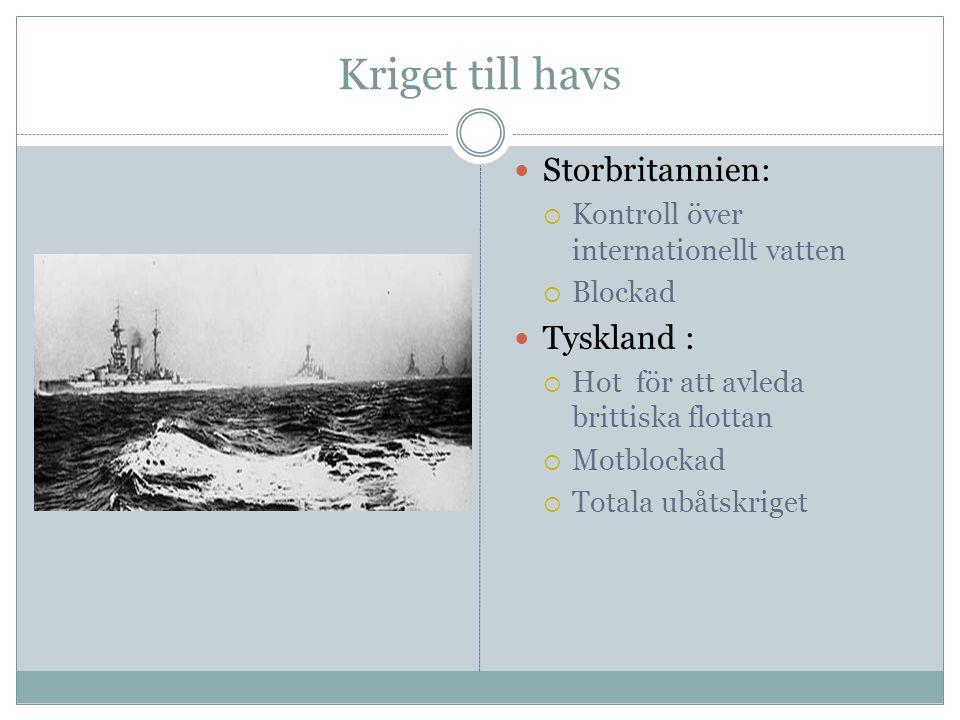 Kriget till havs  Storbritannien:  Kontroll över internationellt vatten  Blockad  Tyskland :  Hot för att avleda brittiska flottan  Motblockad 