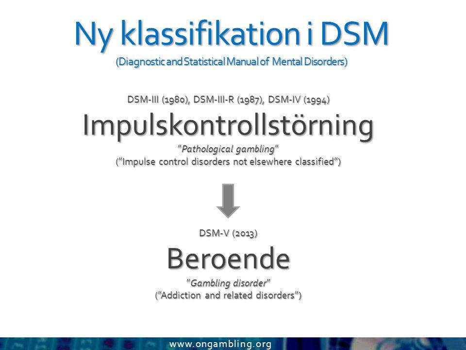 www.ongambling.org Ny klassifikation i DSM (Diagnostic and Statistical Manual of Mental Disorders) DSM-III (1980), DSM-III-R (1987), DSM-IV (1994) Imp