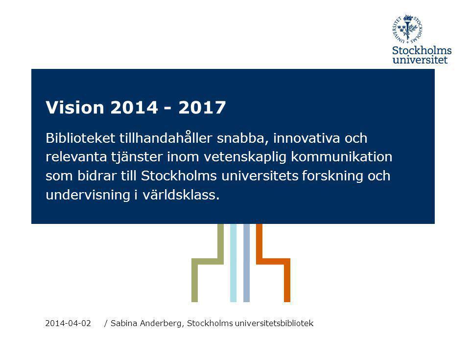 Vision 2014 - 2017 Biblioteket tillhandahåller snabba, innovativa och relevanta tjänster inom vetenskaplig kommunikation som bidrar till Stockholms un