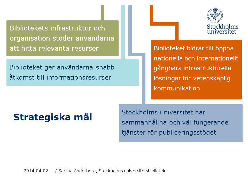 Strategiska mål Bibliotekets infrastruktur och organisation stöder användarna att hitta relevanta resurser 2014-04-02 / Sabina Anderberg, Stockholms u