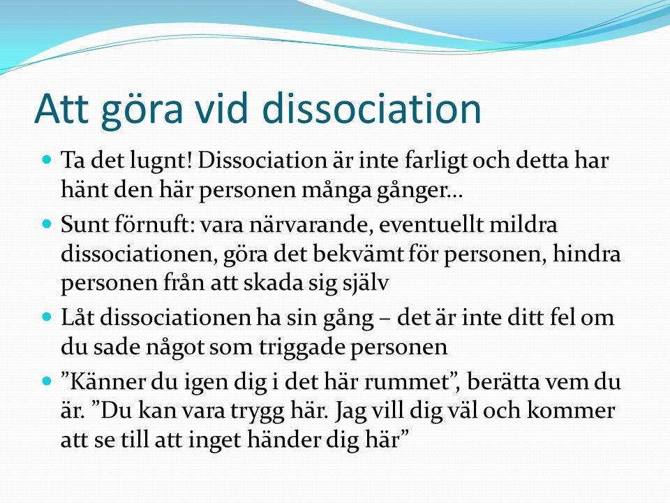 Att göra vid dissociation  Ta det lugnt! Dissociation är inte farligt och detta har hänt den här personen många gånger…  Sunt förnuft: vara närvaran
