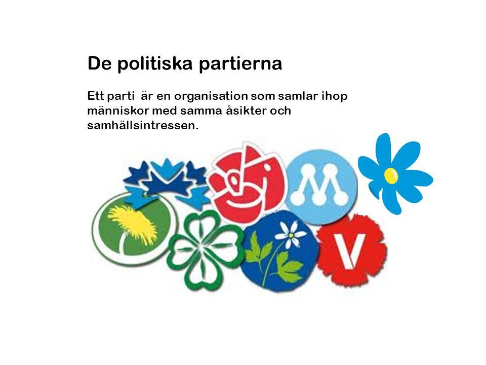 De politiska partierna Ett parti är en organisation som samlar ihop människor med samma åsikter och samhällsintressen.