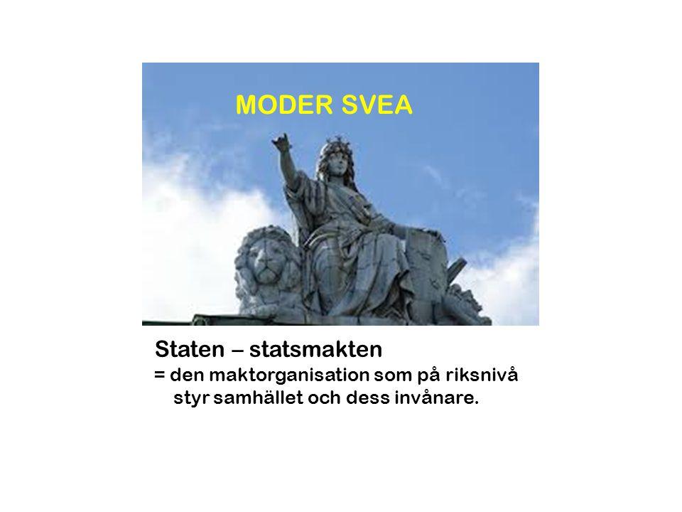 Staten – statsmakten = den maktorganisation som på riksnivå styr samhället och dess invånare. MODER SVEA