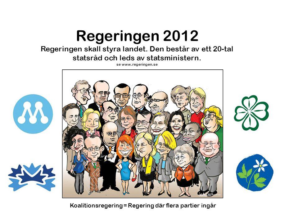 Regeringen 2012 Regeringen skall styra landet. Den består av ett 20-tal statsråd och leds av statsministern. se www.regeringen.se Koalitionsregering =