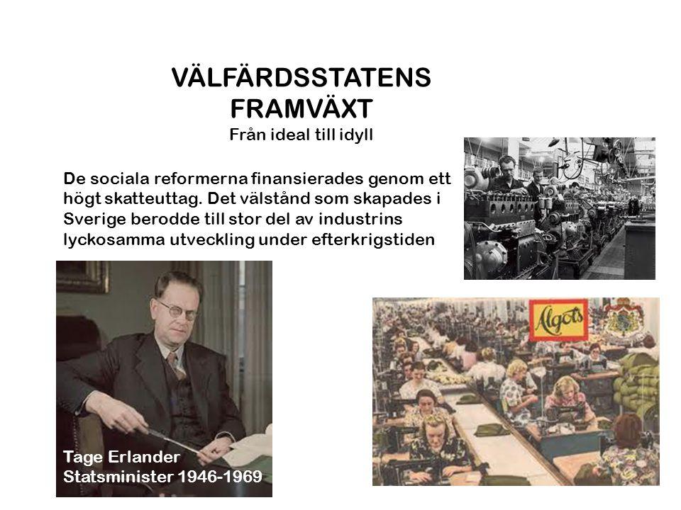 VÄLFÄRDSSTATENS FRAMVÄXT Från ideal till idyll Tage Erlander Statsminister 1946-1969 De sociala reformerna finansierades genom ett högt skatteuttag. D
