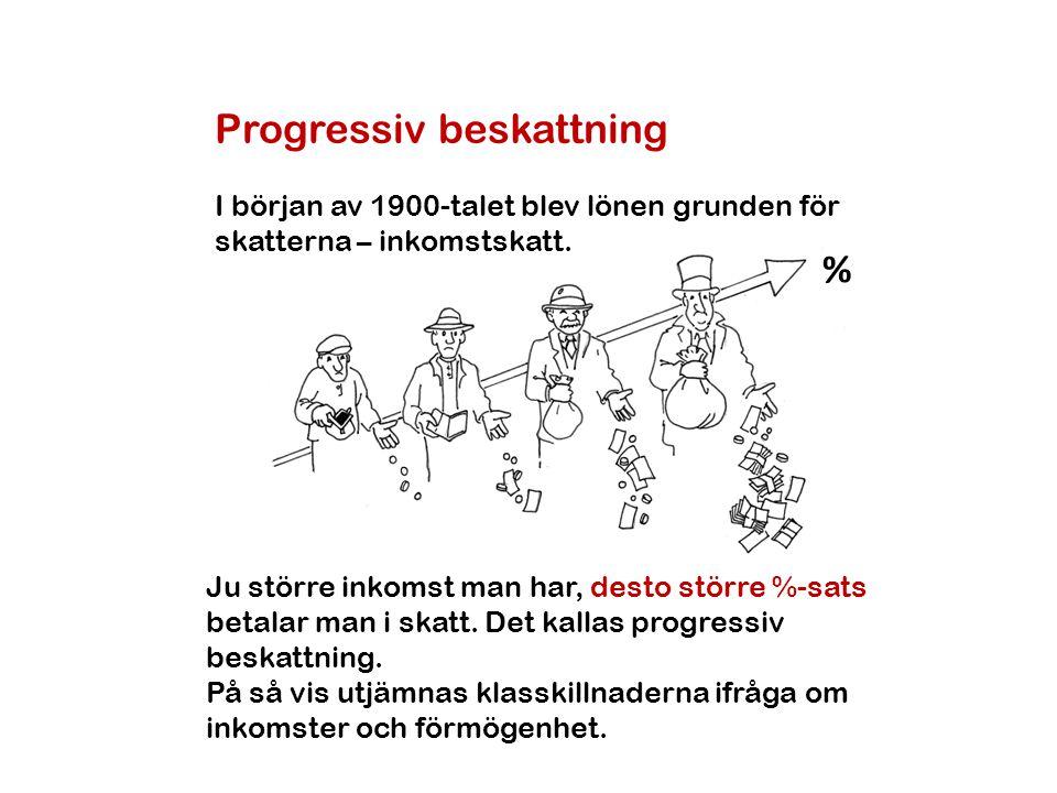 Progressiv beskattning I början av 1900-talet blev lönen grunden för skatterna – inkomstskatt. % Ju större inkomst man har, desto större %-sats betala