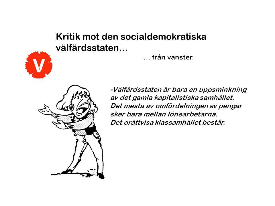Kritik mot den socialdemokratiska välfärdsstaten… … från vänster. -Välfärdsstaten är bara en uppsminkning av det gamla kapitalistiska samhället. Det m