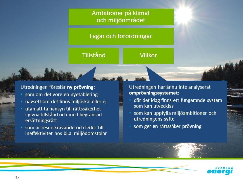 Villkor 17 Lagar och förordningar Tillstånd Ambitioner på klimat och miljöområdet Utredningen föreslår ny prövning: • som om det vore en nyetablering