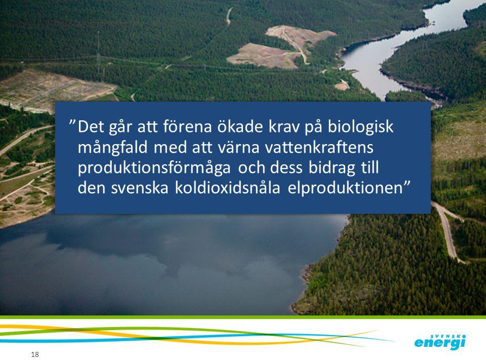 """18 """"Det går att förena ökade krav på biologisk mångfald med att värna vattenkraftens produktionsförmåga och dess bidrag till den svenska koldioxidsnål"""