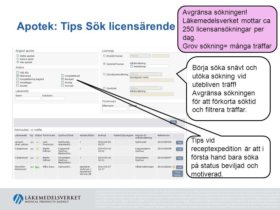 Apotek: Tips Sök licensärende Tips vid receptexpedition är att i första hand bara söka på status beviljad och motiverad. Börja söka snävt och utöka sö