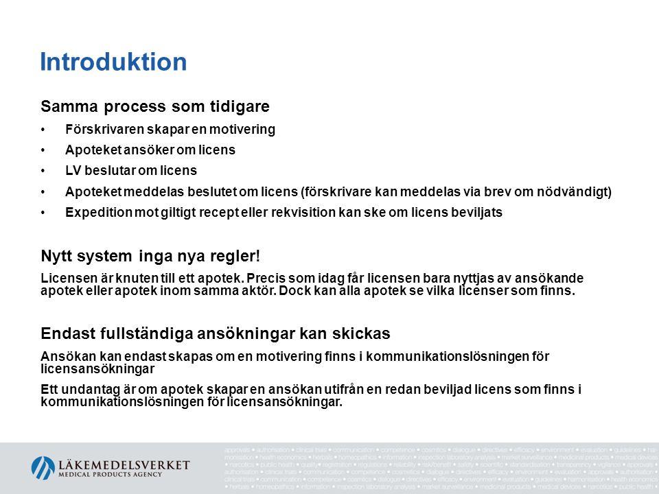 Introduktion Samma process som tidigare •Förskrivaren skapar en motivering •Apoteket ansöker om licens •LV beslutar om licens •Apoteket meddelas beslu