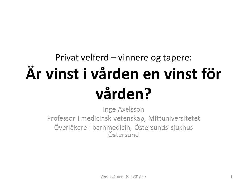 Mittuniversitetet Mid Sweden University, Östersund/Sundsvall 2Vinst i vården Oslo 2012-05