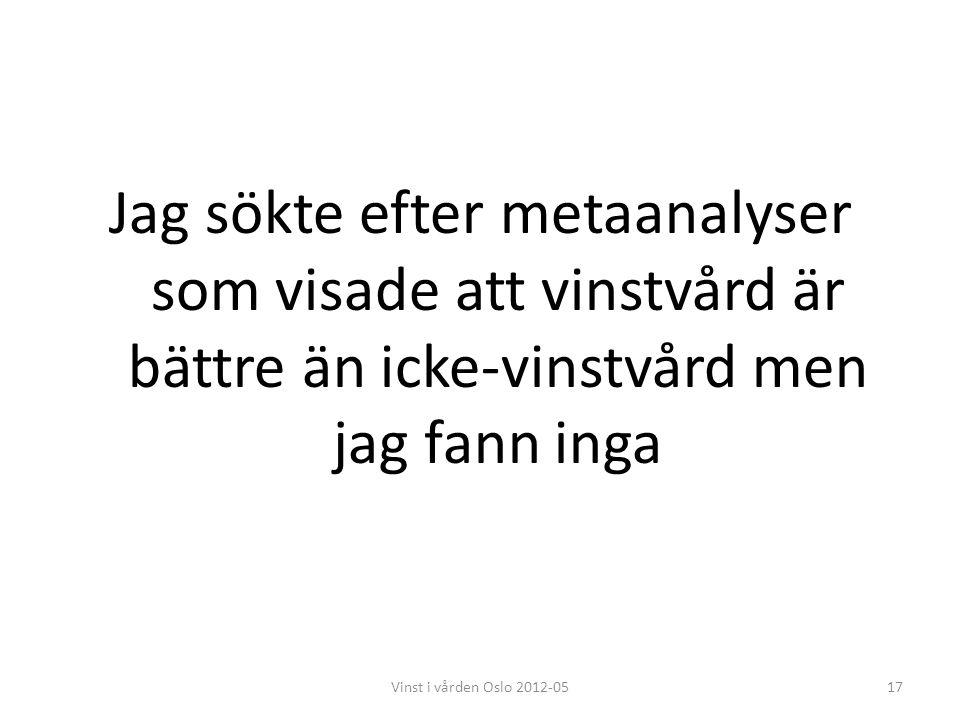 Jag sökte efter metaanalyser som visade att vinstvård är bättre än icke-vinstvård men jag fann inga 17Vinst i vården Oslo 2012-05