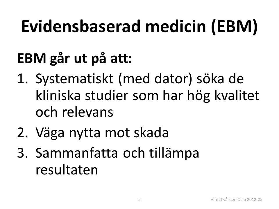 3 Evidensbaserad medicin (EBM) EBM går ut på att: 1.Systematiskt (med dator) söka de kliniska studier som har hög kvalitet och relevans 2.Väga nytta mot skada 3.Sammanfatta och tillämpa resultaten