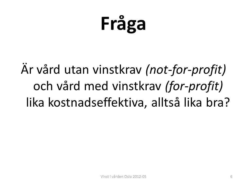 Fråga Är vård utan vinstkrav (not-for-profit) och vård med vinstkrav (for-profit) lika kostnadseffektiva, alltså lika bra? 6Vinst i vården Oslo 2012-0