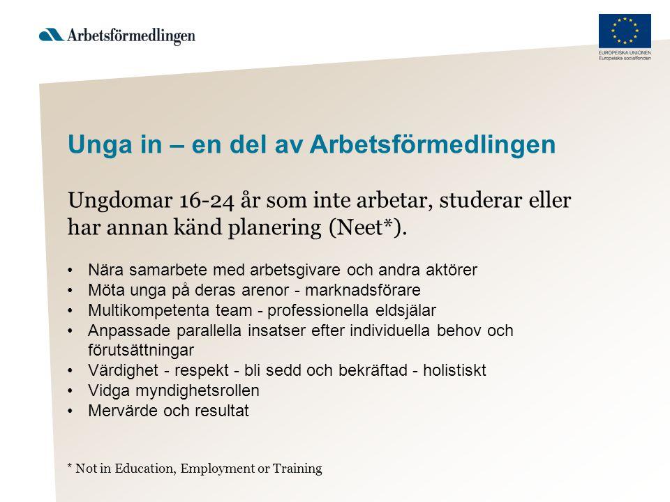 Unga in – en del av Arbetsförmedlingen Ungdomar 16-24 år som inte arbetar, studerar eller har annan känd planering (Neet*). •Nära samarbete med arbets