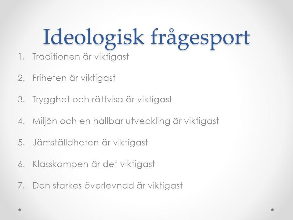 Ideologisk frågesport 1.Traditionen är viktigast 2.Friheten är viktigast 3.Trygghet och rättvisa är viktigast 4.Miljön och en hållbar utveckling är vi