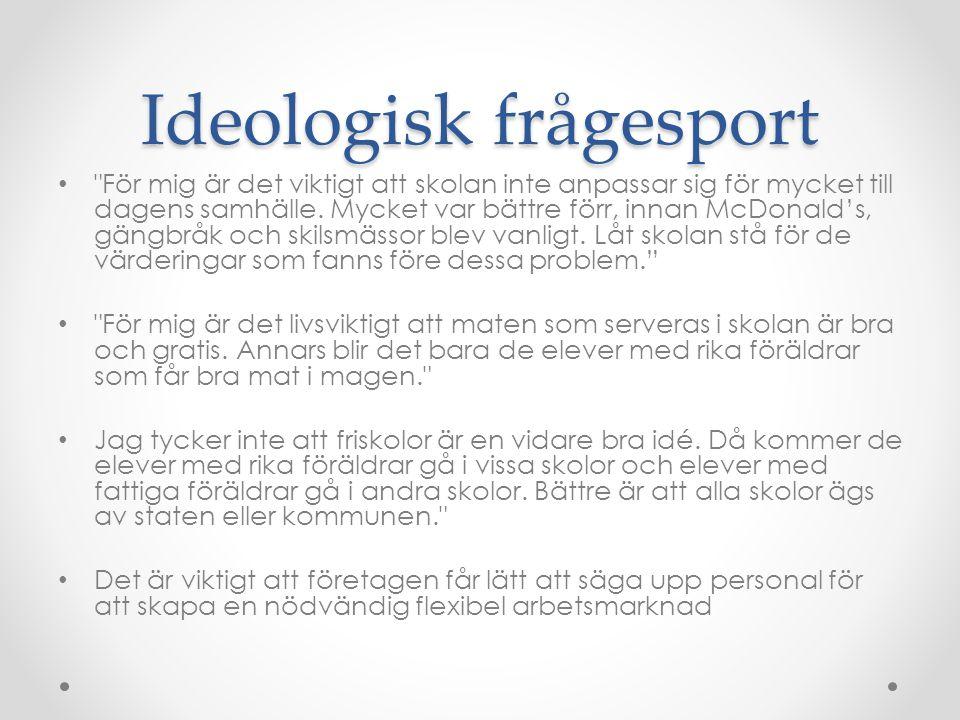 Ideologisk frågesport • För mig är det viktigt att skolan inte anpassar sig för mycket till dagens samhälle.