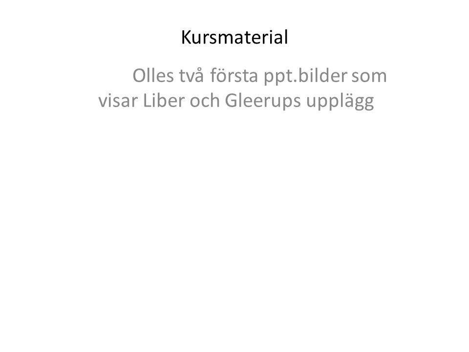 Kursmaterial Olles två första ppt.bilder som visar Liber och Gleerups upplägg