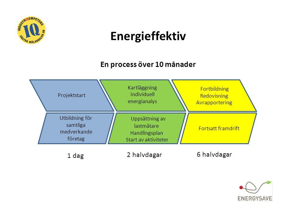 Energieffektiv En process över 10 månader Projektstart Utbildning för samtliga medverkande företag Kartläggning Individuell energianalys Uppsättning a