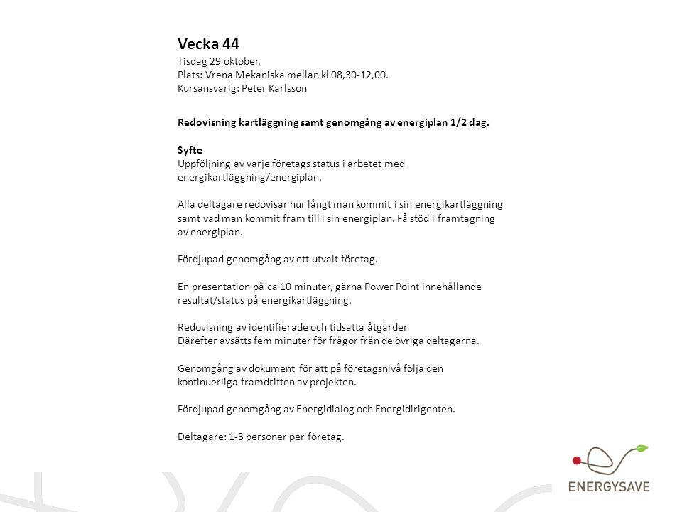 Vecka 44 Tisdag 29 oktober. Plats: Vrena Mekaniska mellan kl 08,30-12,00. Kursansvarig: Peter Karlsson Redovisning kartläggning samt genomgång av ener