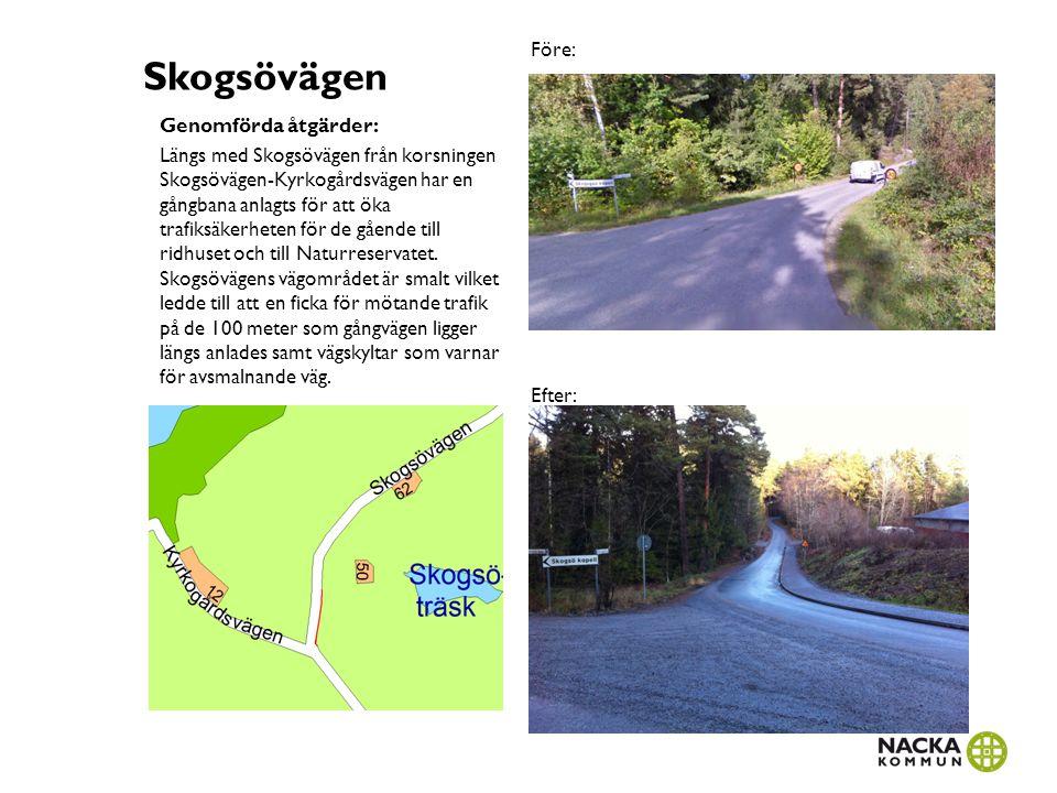 Skogsövägen Genomförda åtgärder: Längs med Skogsövägen från korsningen Skogsövägen-Kyrkogårdsvägen har en gångbana anlagts för att öka trafiksäkerhete