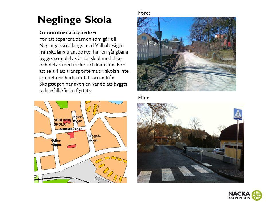 Neglinge Skola Genomförda åtgärder: För att separera barnen som går till Neglinge skola längs med Valhallavägen från skolans transporter har en gångba