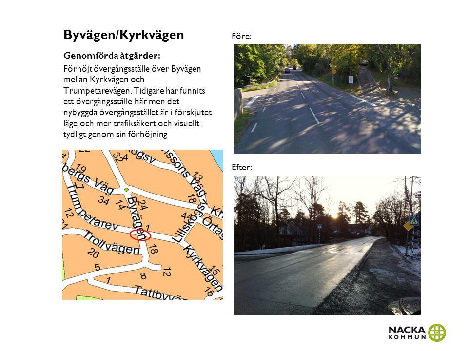 Byvägen/Kyrkvägen Genomförda åtgärder: Förhöjt övergångsställe över Byvägen mellan Kyrkvägen och Trumpetarevägen. Tidigare har funnits ett övergångsst