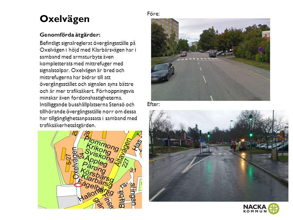 Oxelvägen Före: Efter: Genomförda åtgärder: Befintligt signalreglerat övergångsställe på Oxelvägen i höjd med Klarbärsvägen har i samband med armaturb