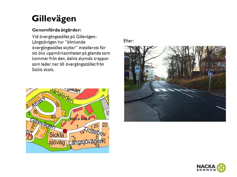 """Gillevägen Genomförda åtgärder: Vid övergångsstället på Gillevägen- Långsjövägen har """"blinkande övergångsställes skyltar"""" installerats för att öka upp"""