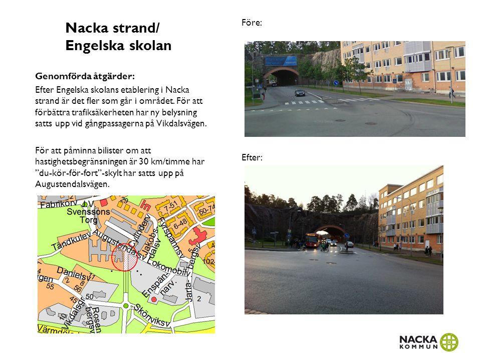 Saltängens skola Genomförda åtgärder: Den gamla bussvändslingan som har används som avlämningsplats för Saltängens skola på Tranvägen har byggts om för att bättre passa som avlämningsplats.