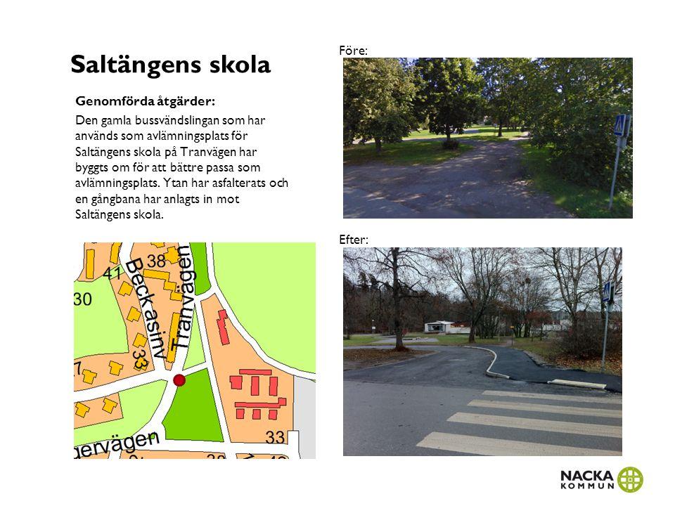 Saltängens skola Genomförda åtgärder: Den gamla bussvändslingan som har används som avlämningsplats för Saltängens skola på Tranvägen har byggts om fö