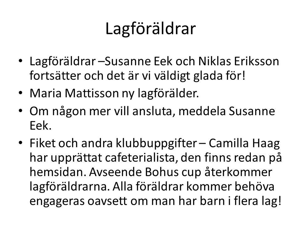 Lagföräldrar • Lagföräldrar –Susanne Eek och Niklas Eriksson fortsätter och det är vi väldigt glada för! • Maria Mattisson ny lagförälder. • Om någon