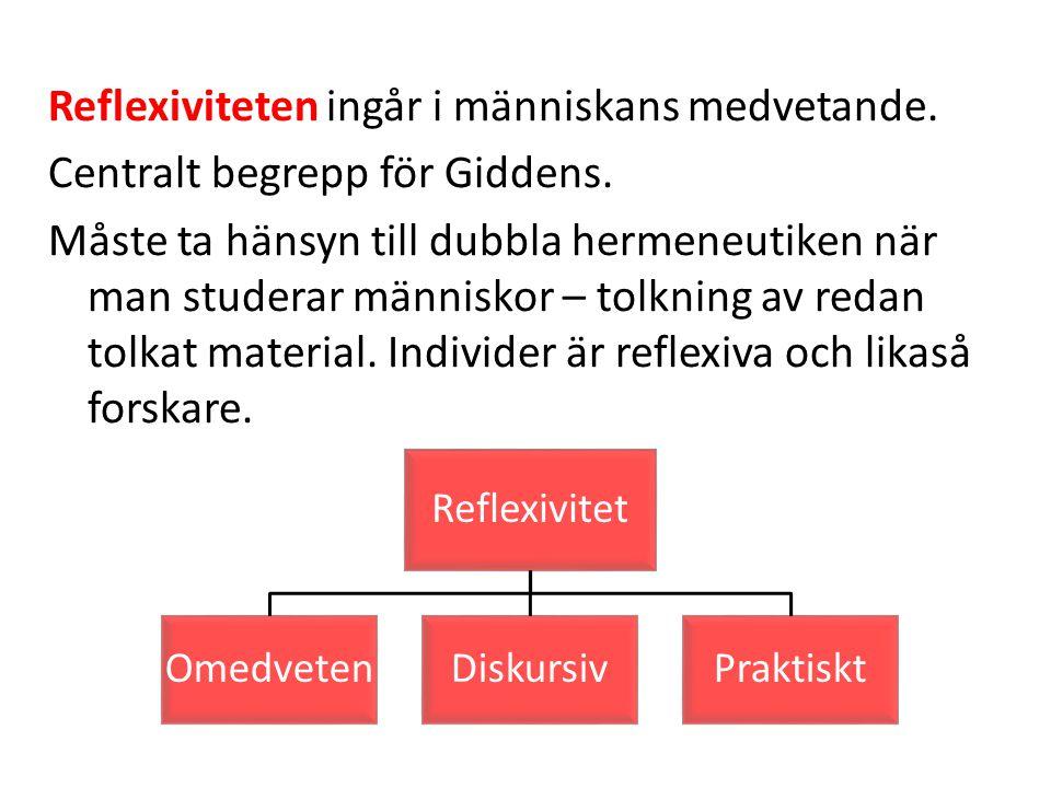 Reflexiviteten ingår i människans medvetande. Centralt begrepp för Giddens. Måste ta hänsyn till dubbla hermeneutiken när man studerar människor – tol