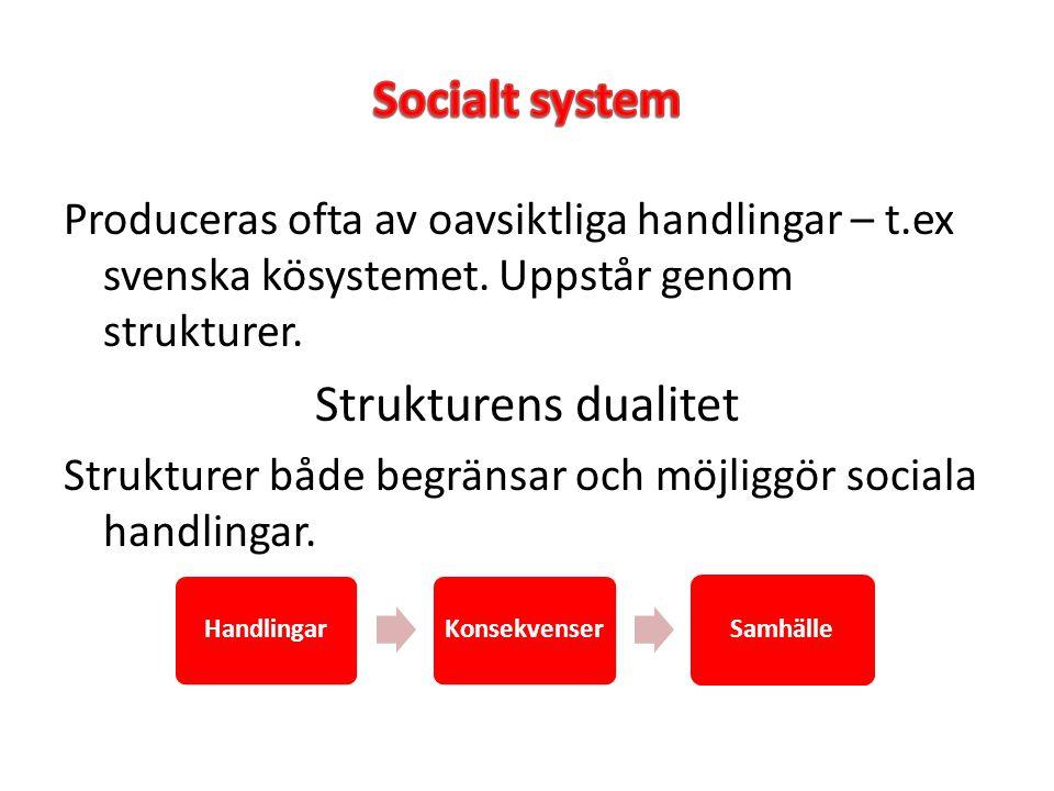 Produceras ofta av oavsiktliga handlingar – t.ex svenska kösystemet. Uppstår genom strukturer. Strukturens dualitet Strukturer både begränsar och möjl