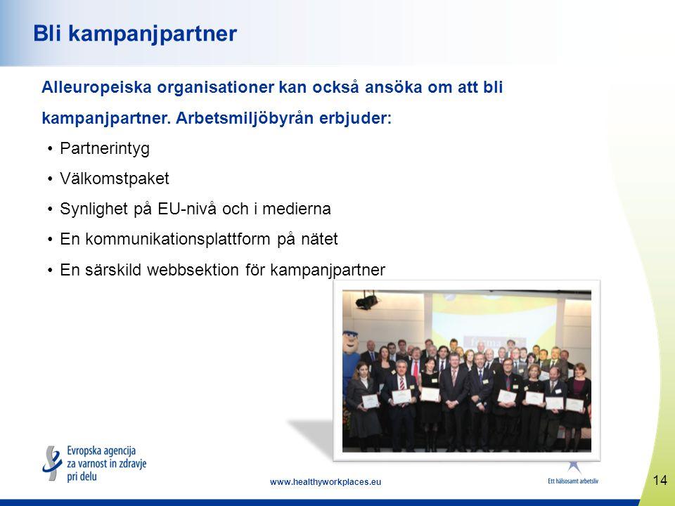 14 www.healthyworkplaces.eu Bli kampanjpartner Alleuropeiska organisationer kan också ansöka om att bli kampanjpartner.
