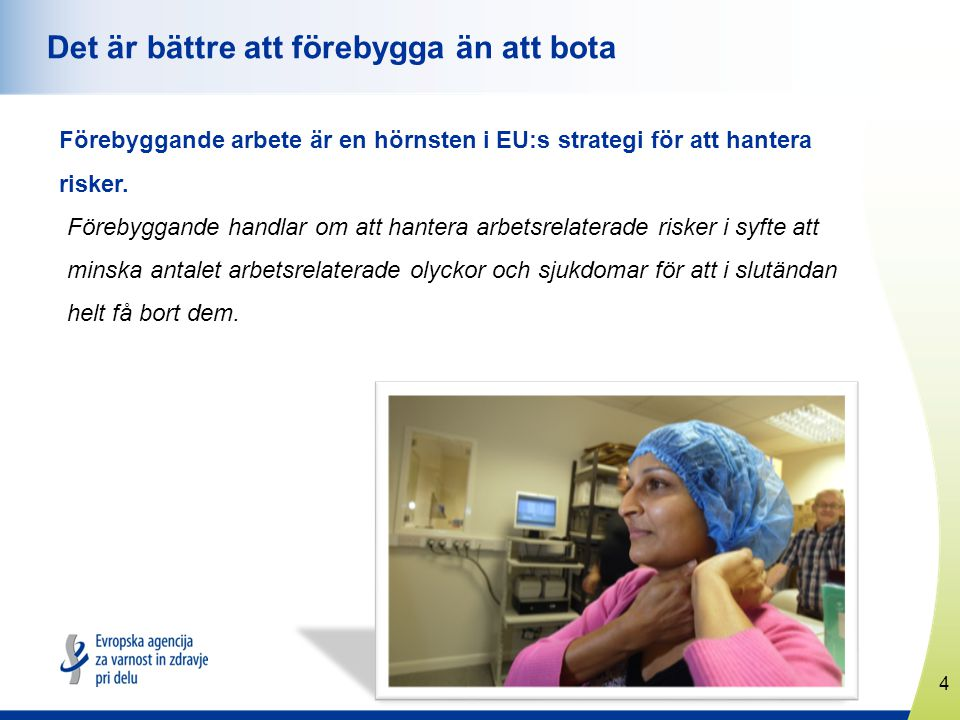 4 www.healthyworkplaces.eu Det är bättre att förebygga än att bota Förebyggande arbete är en hörnsten i EU:s strategi för att hantera risker.