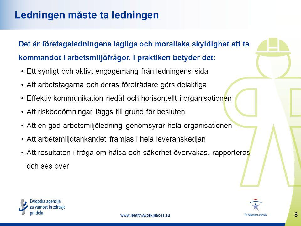 8 www.healthyworkplaces.eu Ledningen måste ta ledningen Det är företagsledningens lagliga och moraliska skyldighet att ta kommandot i arbetsmiljöfrågor.