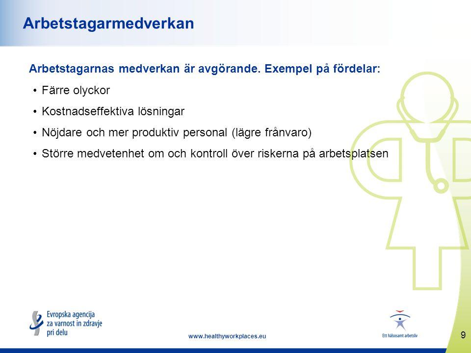 10 www.healthyworkplaces.eu Samråd om säkerhet och hälsa Arbetsgivarna är skyldiga att samråda med arbetstagarna/arbetstagarrepresentanterna om arbetsmiljöfrågor.