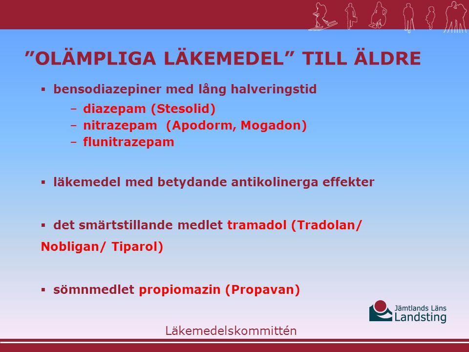Läkemedelsgrupp Preparat Antikolinerga spasmolytika Atropin, hyoscyamin (Egazil Duretter), glykopyrron (Robinul inj) butylskopolamin (Buskopan inj) Antikolinerga antiemetika Skopolamin (Scopoderm plåster) Antiarytmika Disopyramid (Durbis) Urologiska spasmolytika Oxybutynin (Ditropan), tolterodin (Detrusitol), solifenacin (Vesicare), darifenacin (Emselex), fesoterodin (Toviaz) Opioider i kombination med spasmolytika Morfin-skopolamin, Spasmofen, Ketogan, Oxikodon-hyoscin APL Antikolinerga medel vid parkinsonism Trihexyfenidyl (Pargitan), biperiden (Akineton) Neuroleptika av högdostyp Levomepromazin (Nozinan), proklorperazin APL, klorprotixen (Truxal) Lugnande medel Hydroxizin (Atarax) Antidepressiva, icke- selektiva monoamin- återupptagshämmare Klomipramin (Anafranil), amitriptylin (Tryptizol, Saroten), nortriptylin (Sensaval), maprotilin (Ludiomil) Vissa antihistaminer Difenhydramin (Desentol), dimenhydrinat (Amosyt), alimemazin (Theralen), prometazin (Lergigan), tietylperazin (Torecan) Läkemedel med betydande antikolinerg effekt