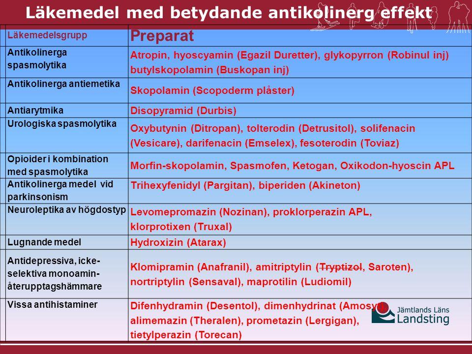 Läkemedelsgrupp Preparat Antikolinerga spasmolytika Atropin, hyoscyamin (Egazil Duretter), glykopyrron (Robinul inj) butylskopolamin (Buskopan inj) Antikolinerga antiemetika Skopolamin (Scopoderm plåster) Antiarytmika Disopyramid (Durbis) Urologiska spasmolytika Oxybutynin (Ditropan ), tolterodin (Detrusitol ), solifenacin (Vesicare), darifenacin (Emselex), fesoterodin (Toviaz) Opioider i kombination med spasmolytika Morfin-skopolamin, Spasmofen, Ketogan, Oxikodon-hyoscin APL Antikolinerga medel vid parkinsonism Trihexyfenidyl (Pargitan), biperiden (Akineton) Neuroleptika av högdostyp Levomepromazin (Nozinan), proklorperazin APL, klorprotixen (Truxal) Lugnande medel Hydroxizin (Atarax) Antidepressiva, icke- selektiva monoamin- återupptagshämmare Klomipramin (Anafranil), amitriptylin (Tryptizol, Saroten), nortriptylin (Sensaval), maprotilin (Ludiomil) Vissa antihistaminer Difenhydramin (Desentol), dimenhydrinat (Amosyt), alimemazin (Theralen), prometazin (Lergigan), tietylperazin (Torecan) Läkemedel med betydande antikolinerg effekt