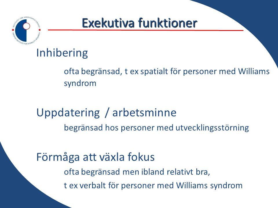 Exekutiva funktioner Inhibering ofta begränsad, t ex spatialt för personer med Williams syndrom Uppdatering / arbetsminne begränsad hos personer med u