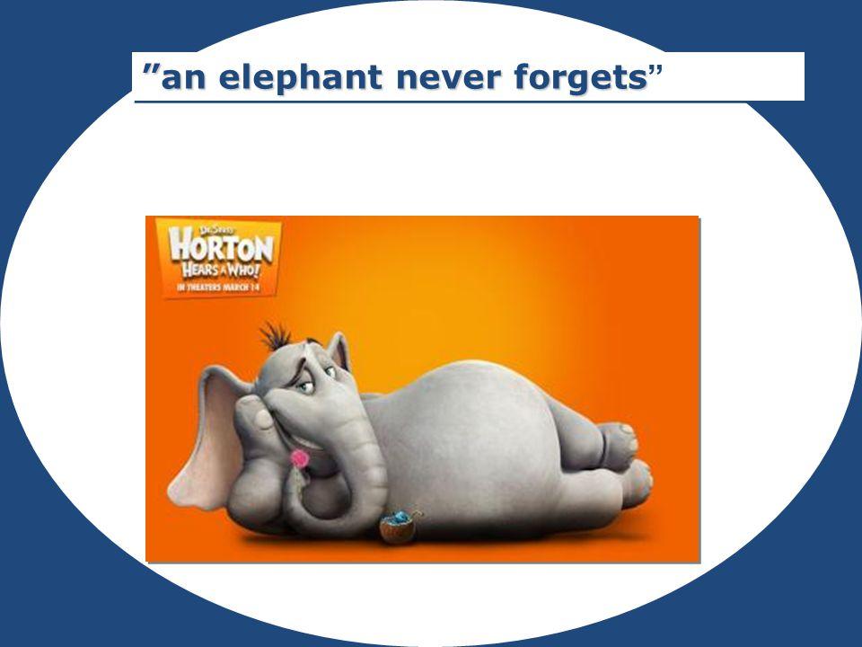 """Rubrik """"an elephant never forgets """"an elephant never forgets """""""