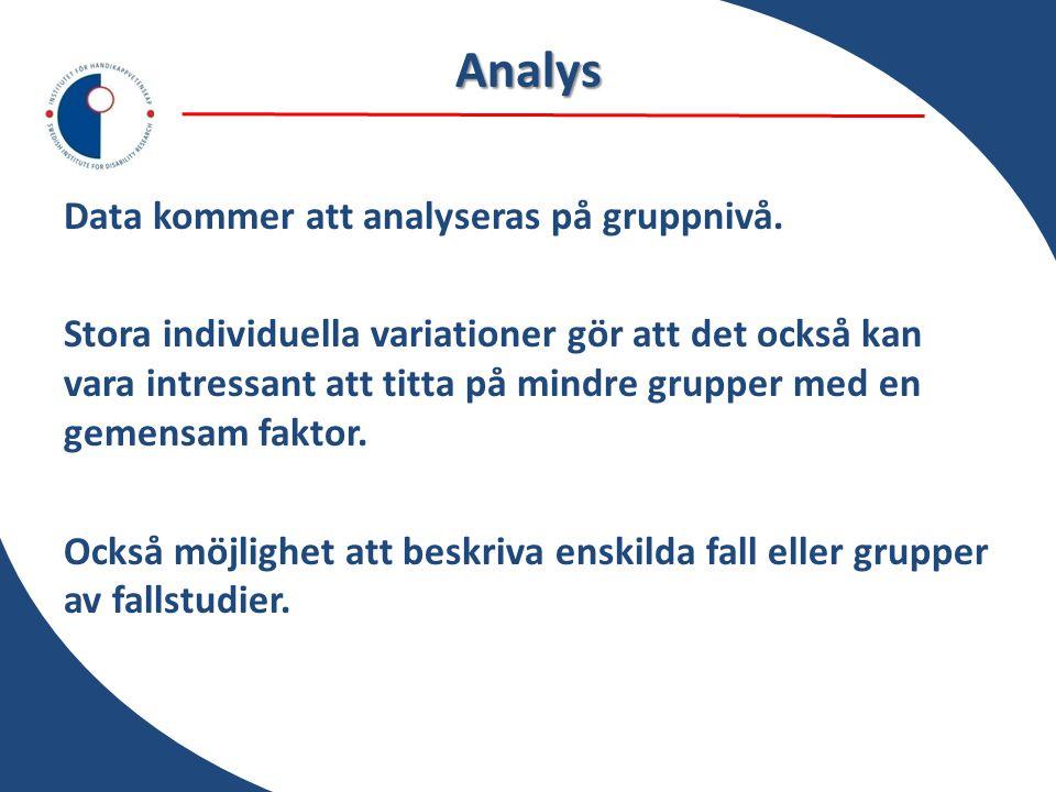 Analys Data kommer att analyseras på gruppnivå. Stora individuella variationer gör att det också kan vara intressant att titta på mindre grupper med e