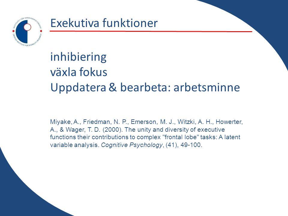 Exekutiva funktioner inhibiering växla fokus Uppdatera & bearbeta: arbetsminne Miyake, A., Friedman, N. P., Emerson, M. J., Witzki, A. H., Howerter, A
