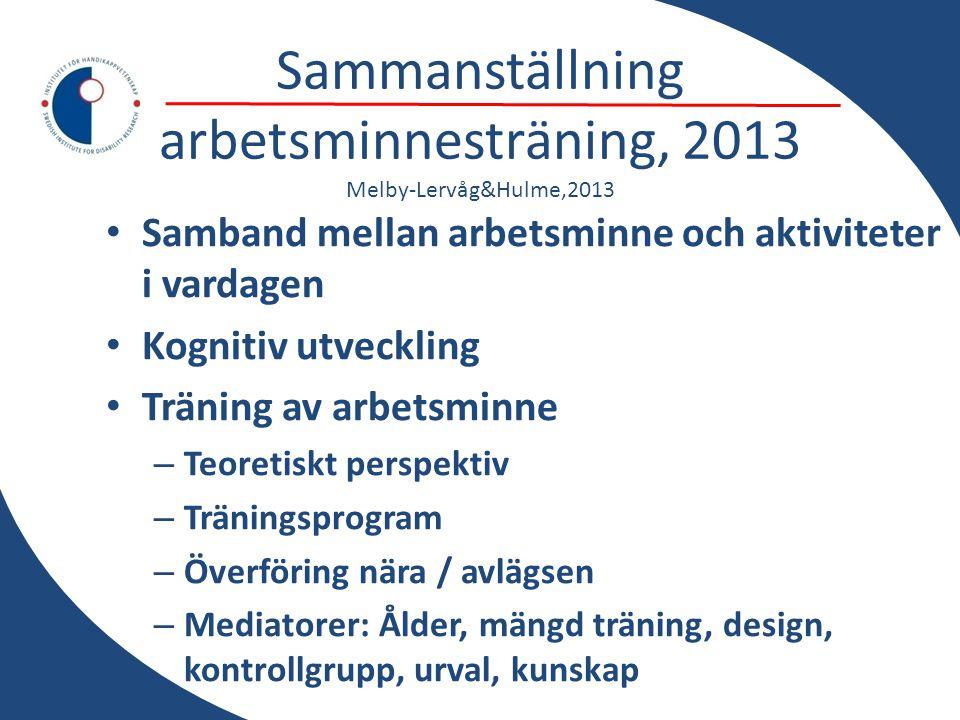 Sammanställning arbetsminnesträning, 2013 Melby-Lervåg&Hulme,2013 • Samband mellan arbetsminne och aktiviteter i vardagen • Kognitiv utveckling • Trän